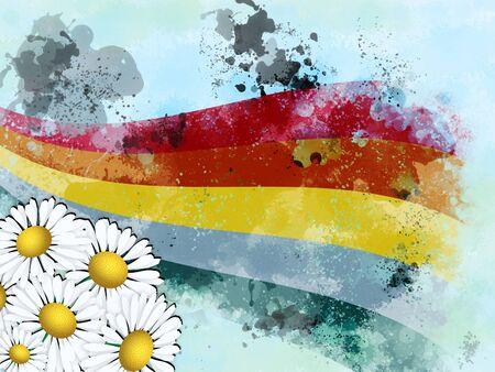 Illustration of rainbow and chamomiles, summer background. Stock Illustration - 15382489
