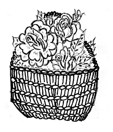 Cartoon basket of roses in black and white style. photo