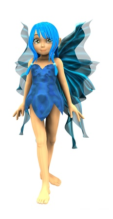 mythological character: 3d render of cute cartoon fairy on white background. Stock Photo