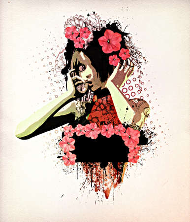 Abstract retro illustration of girl with flowers on paper background. illustration
