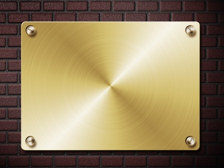 Abstract illustration of metal plate on brick wall background. illustration