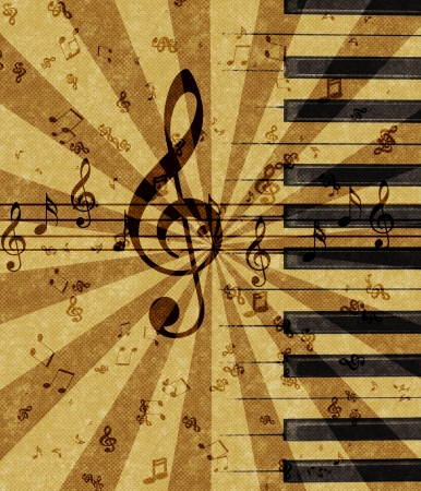 Grunge illustration of music notes on old paper sheet background