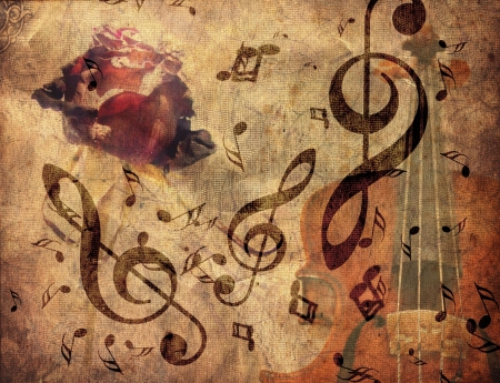 musical instrument parts: Abstract grunge rose, violin and music notes vintage background. Stock Photo