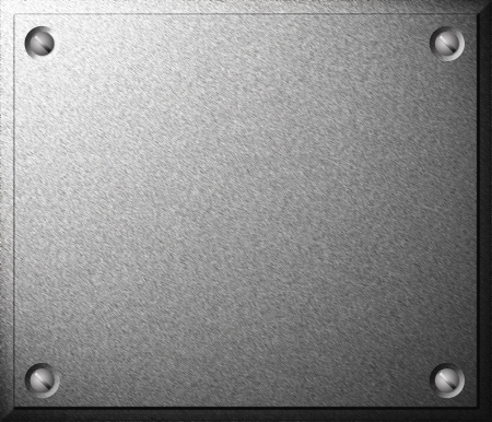Gray shiny metal plate with screws background texture photo