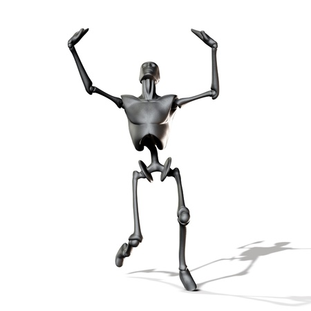 Abstract 3d metal robot on white background. Stock Photo - 15382471