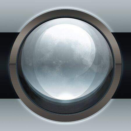 Illustration of abstract grey moon web icon, button.