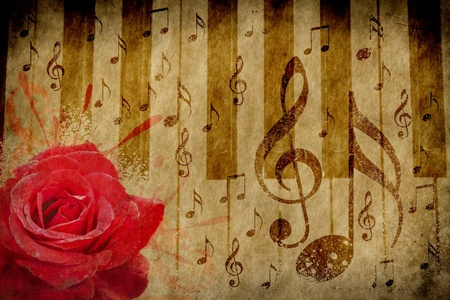 Abstract grunge rose, piano and music notes vintage background