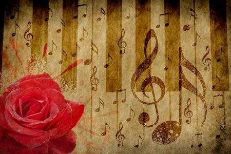 rękopis: Streszczenie grunge rose, pianino i notatki muzyczne Vintage background Zdjęcie Seryjne