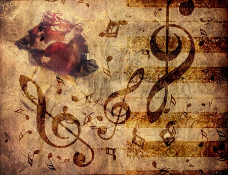 Abstract grunge rosa, piano y notas de la m�sica de fondo vendimia photo