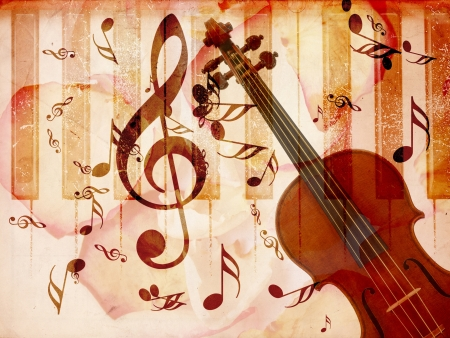 Abstract grunge rose petals and music notes vintage background  photo