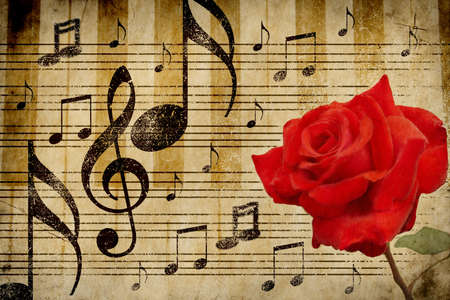 Abstract grunge red rose and music notes vintage background  photo