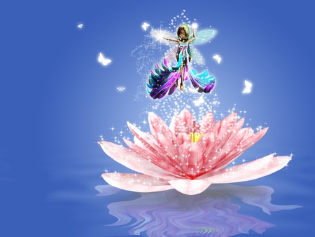 magic lily: Illustration of magic water lily and fairy background