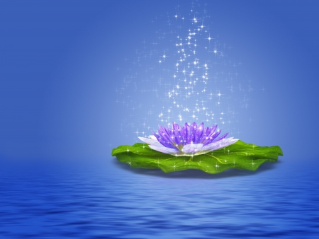 Colorful illustration of purple water lily with sparkles