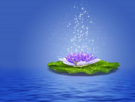 milagro: Ilustraci�n colorida de lirio de agua p�rpura con destellos