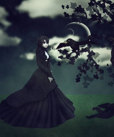 Abstract illustration of woman in black dress and raven  illustration