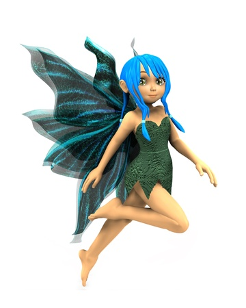 fairyland: 3d render of cute cartoon fairy on white background. Stock Photo