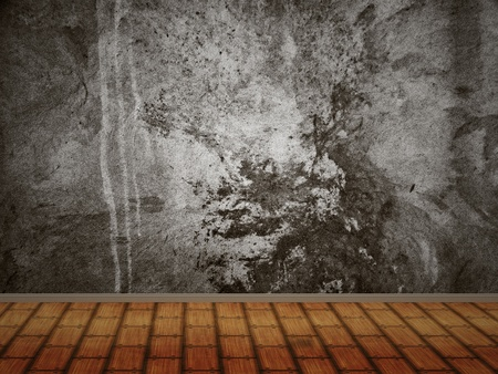 Abstract room with concrete wall and wood floor