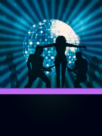 Illustration of dancing people and big disco ball Stock Illustration - 15557783