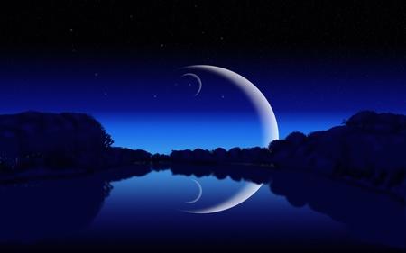 Silhouettes nocturnes de la forêt, d'un lac éclairé par la lune et les étoiles Banque d'images - 15557825