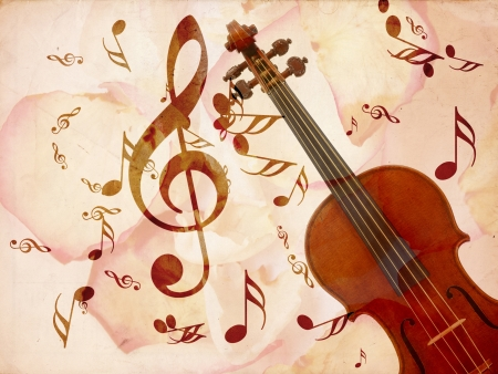 Abstract grunge rose petals, violin and music notes vintage background  photo