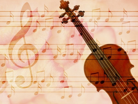 Abstract grunge rose, violin and music notes vintage background  photo