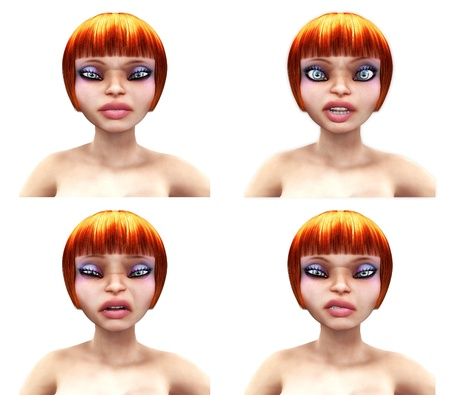 3d render of red haired girl over white  photo