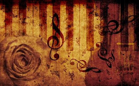 Vintage grunge background with rose and music notes  photo