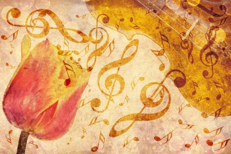 Vintage grunge background with tulip and music notes  photo