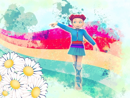 Abstract illustration with cartoon girl walking on rainbow  Stock Illustration - 15685458