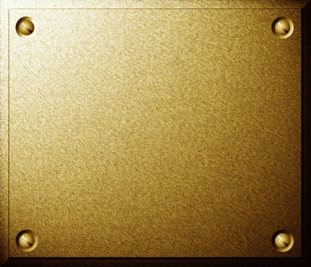 Brass shiny metal plate with screws background texture photo