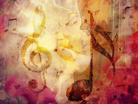 Abstract grunge, vintage music with notes background