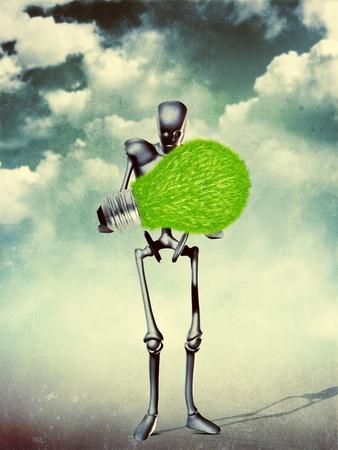 Grunge illustration of metal humanoid holding grass light bulb Stock Illustration - 15685478