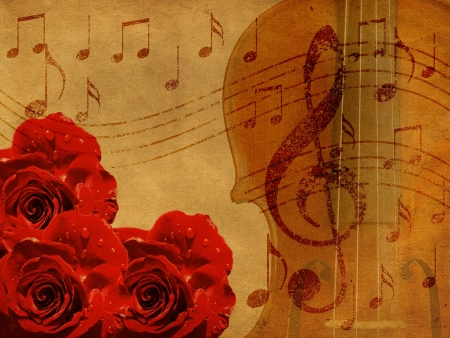 musical instrument parts: Abstract grunge rose and notes, vintage music background