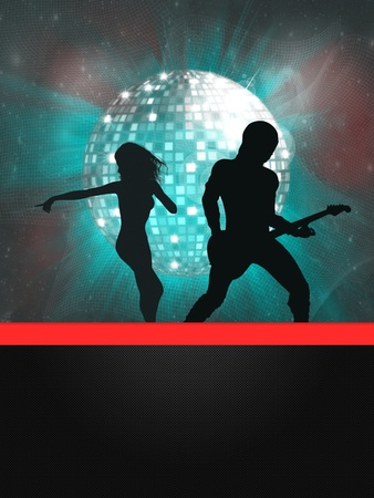 Illustration of party banner with disco ball and dancing people  Stock Illustration - 15685479