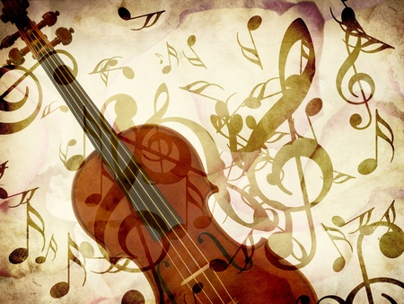 Abstract grunge rose petals, violin and music notes vintage background. photo