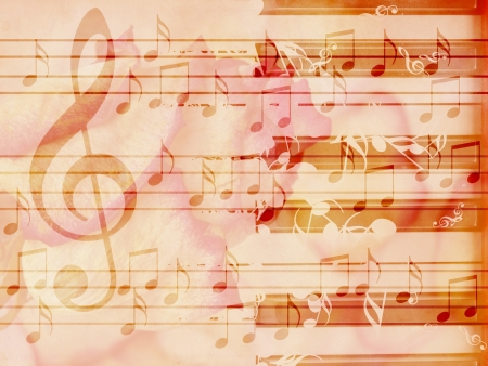 Abstract grunge rose, piano and music notes vintage background. photo