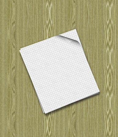 Illustration of two sheets of paper on wood table background. Stock Illustration - 15685486