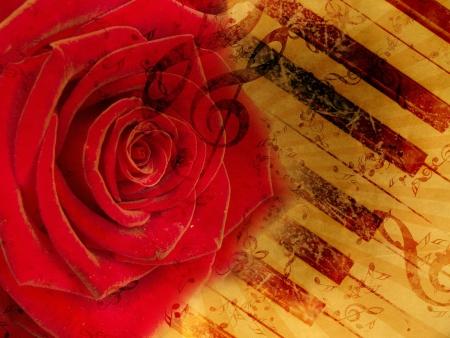 Fond grunge de cru avec des notes de rose et de la musique. Banque d'images - 15685487