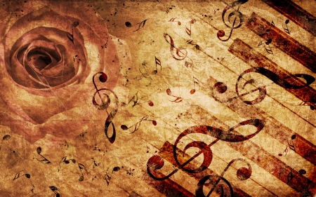 Vintage grunge background with rose and music notes. Stock Photo - 15685499
