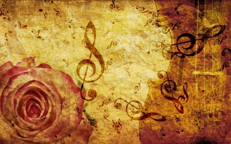 musical score: Vintage grunge background with rose and music notes.