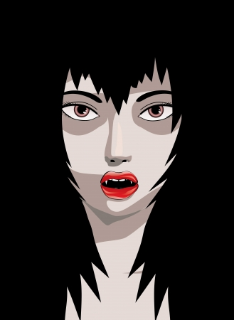 fang: Abstract illustration of  woman vampire with fangs in the dark.
