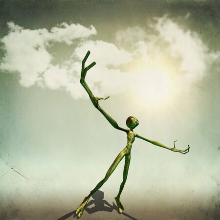 extra terrestrial: Abstract illustration of alien science fiction creature with hands raising.