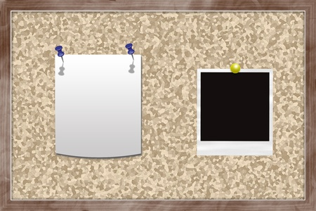 Cork bulletin board with note and instant photo card. Stock Photo - 15827603
