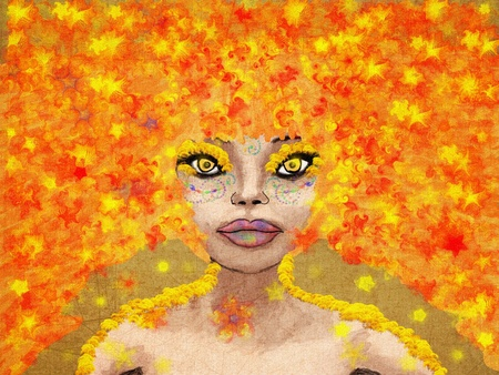 Fantasy illustration of abstract autumn red haired girl. illustration