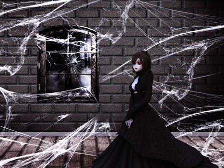 Illustration of haunted old castle interior with ghost, vampire woman. illustration