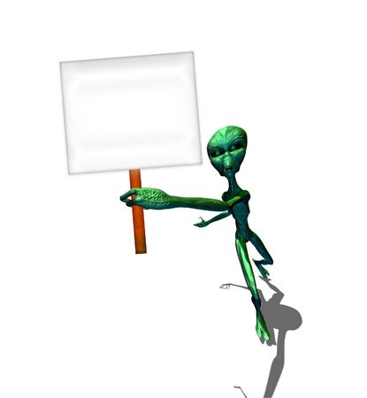 roswell: Abstract 3d render of green alien on white background.