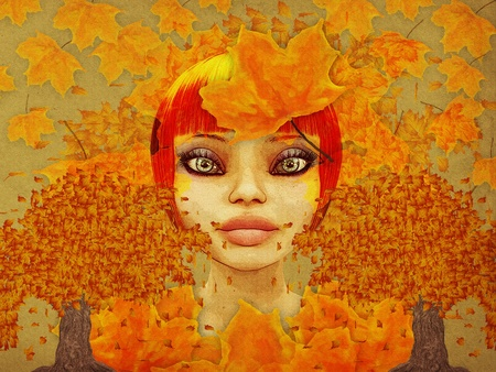Grunge illustration of girl and autumn leaves on paper backgound.