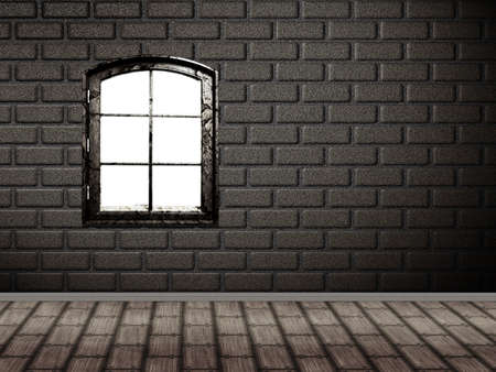 Illustration of brick wall interior with wood floor and window. illustration