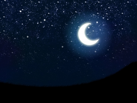 night sky: Illustration of night sky with stars and crescent moon.