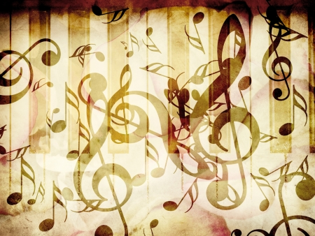 Abstract grunge rose petals and music notes vintage background. photo